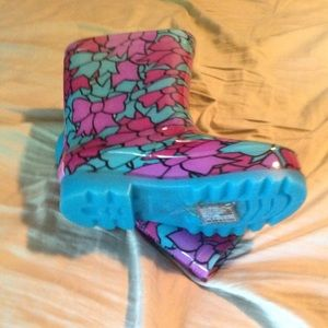 New girls light up size 10 sketchers rain boots